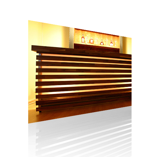 Mobile LED Bar Wood Theke