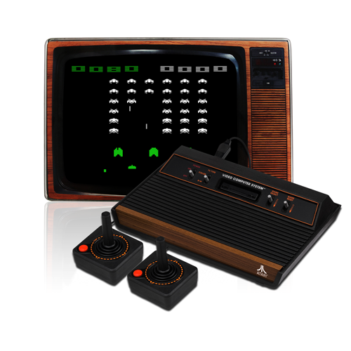 Atari 2600 Woodgrain mit Röhrenbildschirm