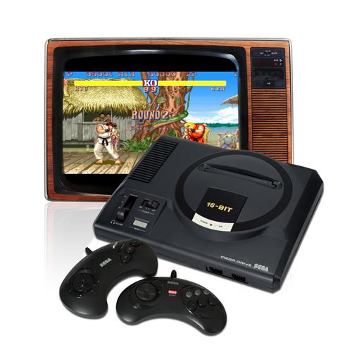 Sega Mega Drive mit Röhrenbildschirm