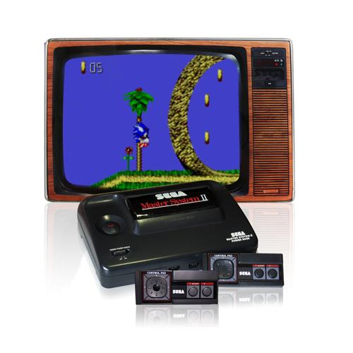 Sega Master System 2 mit Röhrenbildschirm